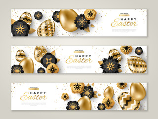 Easter banners with gold ornate eggs