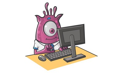 Vector cartoon illustration of Professional Monster working on computer.Isolated on white background.