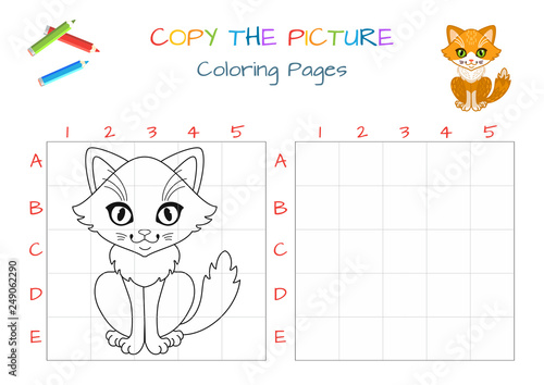 Funny Little Cat Copy The Picture Coloring Book