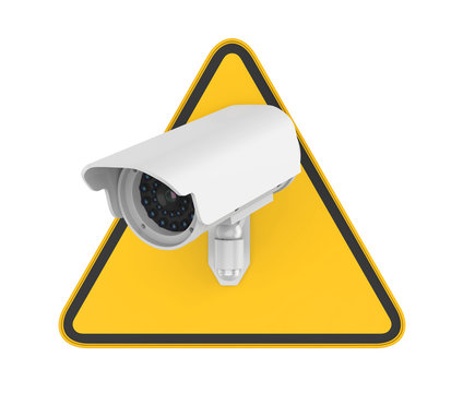 Surveillance CCTV Security Camera Sign Isolated