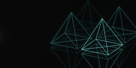 Banner hologram pyramid geometry dark