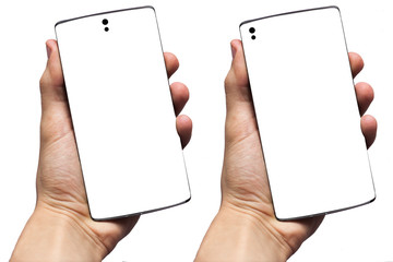 Hand holding smart phone isolated on gray. New 2019 popular concept for phones.