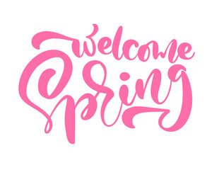 Pink Calligraphy lettering phrase Welcome Spring. Vector Hand Drawn Isolated text. sketch doodle design for greeting card, scrapbook, print