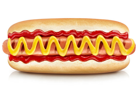Delicious hot dog with ketchup and mustard, isolated on white background