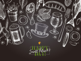 Hand drawn Saint Patrick day pub poster. Beer and snacks. Vector glass, bottle, opener, horseshoe, barley, hop, food, hat. Bar alcohol beverages. Craft brewery Discount banner flyer poster.