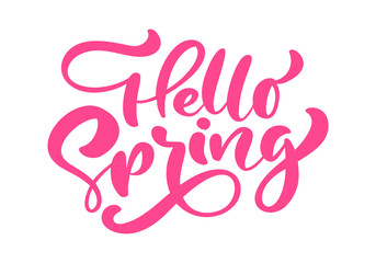 Red Calligraphy lettering phrase Hello Spring. Vector Hand Drawn Isolated text. sketch doodle design for greeting card, scrapbook, print