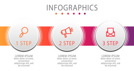 Modern vector illustration. Infographic circles template with three elements, sectors, icons. Designed for business, presentations, web design, interface, workflow layout, diagrams with 3 steps
