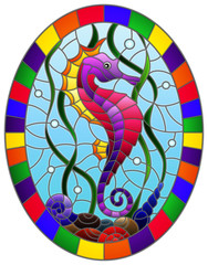 Illustration in stained glass style with a  fish seahorse on the background of water and algae,oval picture frame in bright