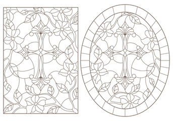 Set contour illustrations with Christian cross and flowers ,black contour on white background