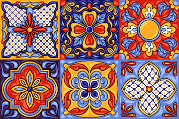 Mexican talavera ceramic tile pattern. Ethnic folk ornament.
