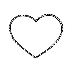 Black hand drawn heart on white background. Design element for Valentine s day. Print for poster, t-shirt, bags, postcard, sweatshirt, flyer.
