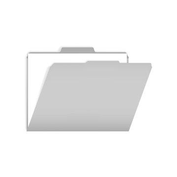 Open gray tabbed file folder with white paper sheet inside, mock-up