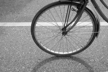 Photo sur Aluminium The shadow of a bicycle on the black and white on asphalt road