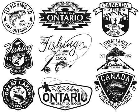 Great lake Canada fly fishing club vintage vector labels collection in black and white