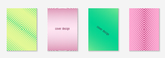 Gradient cover template. Dynamic booklet, annual report, patent, journal mockup. Yellow and pink. Gradient cover template with line geometric elements and shapes.