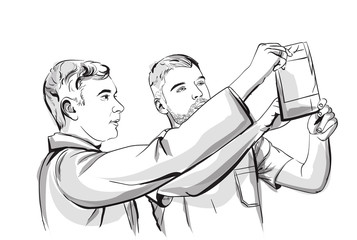 Two doctors analyzing an X-ray Vector sketch storyboard. Detailed character illustrations