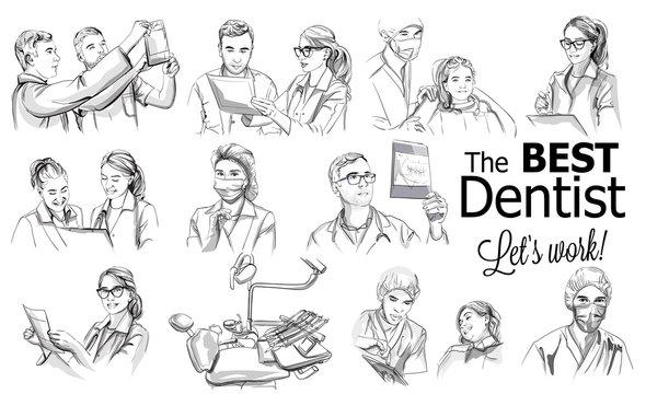 Dentist doctors storyboard Vector. Medical team concept set. Hospital medical staff team doctors nurses surgeon vector sketch illustrations