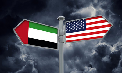 UAE and America flag moving in different direction. 3D Rendering