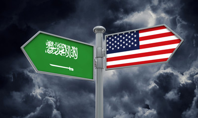 Saudi Arabia and America flag moving in different direction. 3D Rendering