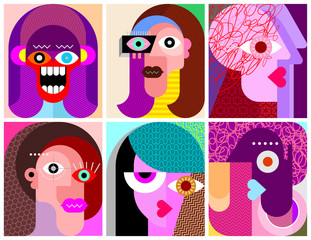 Foto op Canvas Abstractie Art Six Faces / Six Characters vector illustration