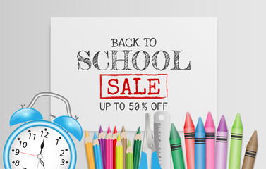 Back to school SALE upto 50 % off text on white paper with school supplies for discount promotion. Vector illustration