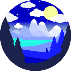 Flat round landscape.Night sky, blue river, Fox silhouette, mountains.