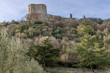Beautiful view of the Rocca d'Orcia in a dominant position in the province of Siena, Tuscany, Italy
