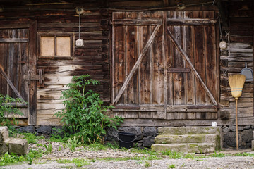 old wooden door of a house in a village