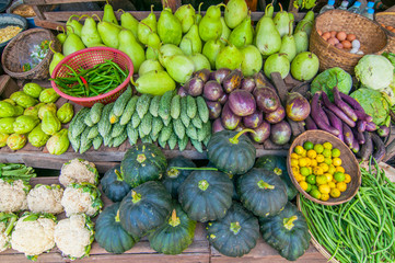 Vegetables and fresh fruits for sale at market, near Bagan, Myanmar (Burma).