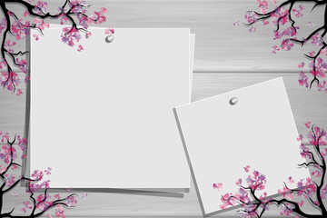Wooden board with photo and place for inscription. Cherry blossoms twigs. Spring frame. Inspiration board. Mockup with blooming trees