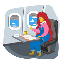 The girl sits in the cabin and looks out the window. The interior of the aircraft. Illustration in flat style.