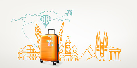 Photoreal suitcase with different travel destination elements. World travel vector concept Fotobehang