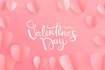 Happy Valentine`s Day greeting card. Paper hearts on pink background