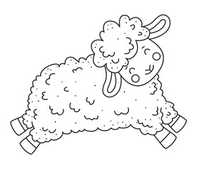 Cute outline doodle sheep jumps. Hand drawn elements