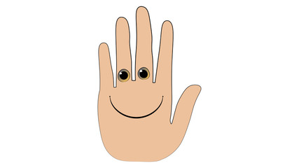 Hand funny character. Palm smile sticker