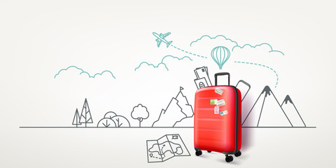 Photoreal red suitcase with cityscape background. World travel vector concept Fotomurales