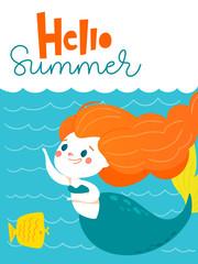 Vector cartoon summer poster with cute little mermaid