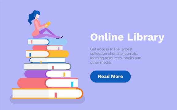 Online library woman reading books on publication pile web vector. Information gaining, obtaining knowledge, exam preparation page with text sample