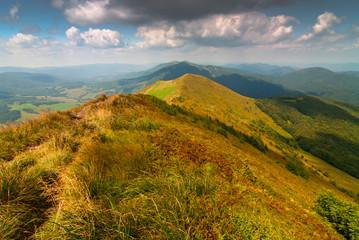 Landscape view from trekking path, Bieszczady Mountains Poland.