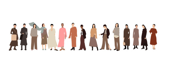 Hand drawn women vector, young women or girls dressed in trendy clothes standing together. Group of friends or feminist activists. Female cartoon characters isolated on white background– stock illustr