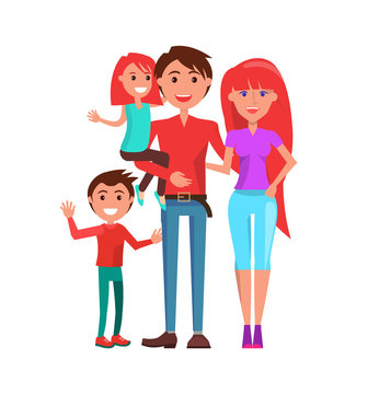 Family mother, father and two kids isolated on white. Vector parents, boy and girl, redhead mom and daughter, brunette son and dad, couple with infants