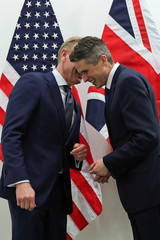 Acting U.S. Secretary of Defense Shanahan poses with British Defense Secretary Williamson during a NATO defence ministers meeting in Brussels