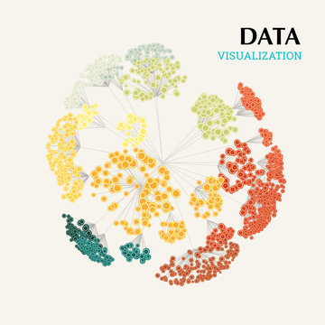 Data visualization. Volumetric data clusters. Big data complexity representation. Analytics abstract concept. Graphic background.