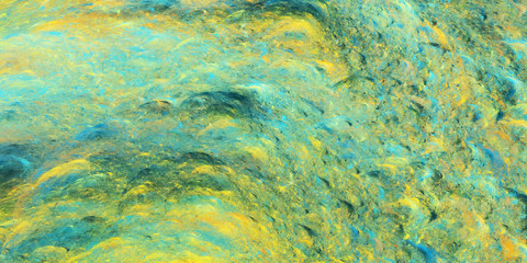 Abstract teal and yellow fantastic clouds. Colorful fractal background. Digital art. 3d rendering.