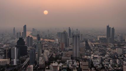 Fototapete - Bangkok city aerial view at sunset, Thailand