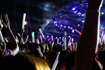 Crowd at concert, put your hand up.
