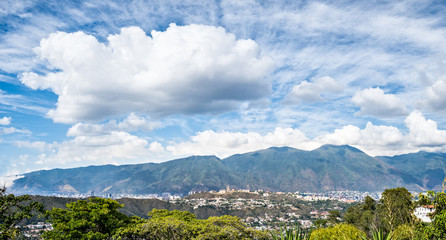 Panoramic image of El Avila with a cloudy sky