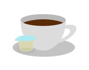 ガムシロップが添えられたコーヒー