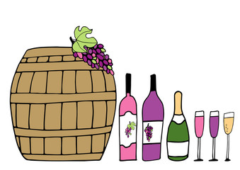 Hand drawn vector doodle pattern with Barrel, wine glasses, bottles with red wine and sparkling wine, grapes. Wine party.