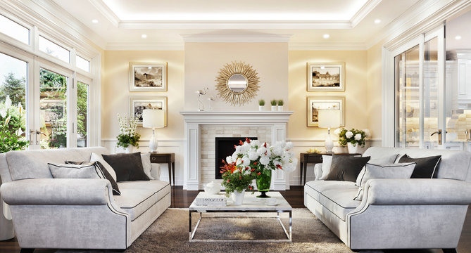 Living room with fireplace in luxury home